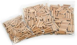 Wfix Houten pluggen set - houten pluggen 6 mm 8 mm 10 mm | ribbelhouten pluggen 500 stuks | pluggen van beukenhout | ideaa...