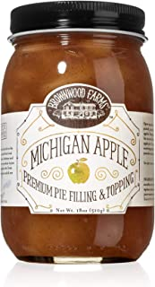 Brownwood Farms Michigan Apple Filling - 18 oz Best Premium Pie Fillings Toppings- Made in USA Gluten-free - W/ Great Lakes apple- Chefs Baking Topping- Apple pie- Ice cream- Yogurt (BFAP18)