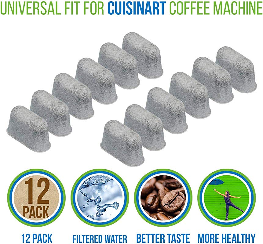 PURE GREEN 12 Pack Of Cuisinart Compatible Replacement Charcoal Water Filters For Coffee Makers Fits All Cuisinart Coffee Makers