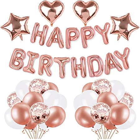 Thicken Rose Gold Confetti Latex Balloons Letter Foil Mylar Helium Balloons for Party Supplies Party Decorations with Decorating Strip BIT.FLY Happy Birthday Banner Party Balloons Kits