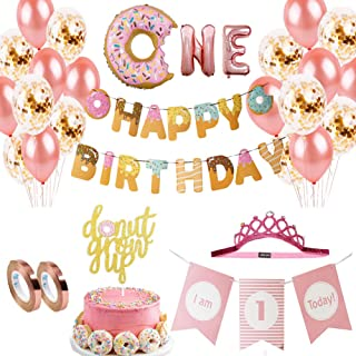 Dxary Donut 1 First Birthday Party Supplies Set, Doughnut Birthday Party Decoration Kit Include Donut Grow Up Cake Topper Donut Foil Balloons High Chair Banner Rose Gold Confetti Latex Balloons for Baby Shower Donut Party Decor