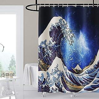 Tenda da doccia con albero di Natale con 12 anelli a C con peso inferiore 180 x 200 cm in tessuto con effetto antimuffa M/&W DasDesign lavabile