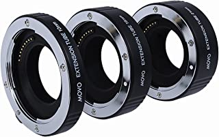 Movo Photo AF Macro Extension Tube Set for Canon EOS-M, M2, M3, M10 Mirrorless Camera System with 10mm, 16mm & 21mm Tubes (Metal Mount)