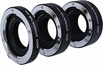 Movo Photo AF Macro Extension Tube Set for Nikon 1 AW1, J1, J2, J3, JF, S1, S2, V1, V2, V3 Mirrorless Cameras with 10mm, 16mm and 21mm Tubes (Metal Mount)