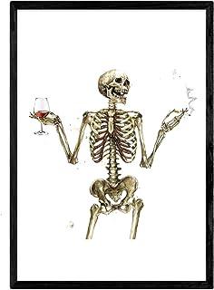 NACNIC Tableau Garçon squelette buvant du vin. Affiches avec des images de crânes. Format A3 sans cadre.