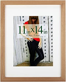 RPJC 11x14 inch Picture Frame Made of Solid Wood and High Definition Glass Display Pictures 8x10 with Mat or 11x14 Without Mat for Wall Mounting Photo Frame Natural