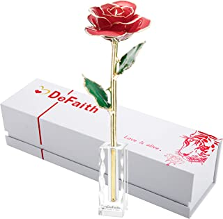 DEFAITH 24K Gold Dipped Rose Forever Gift, First Anniversary Birthday Keepsake Present Valentines Day Wedding Marriage Proposal Romantic Gifts for Her Wife Girlfriend Spouse, with Crystal Stand