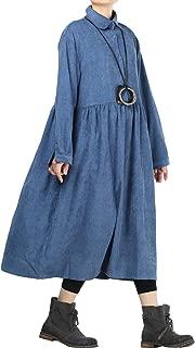 Mordenmiss Women's Corduroy Pleated Dress Button-up Spread Collar Shirt Dress