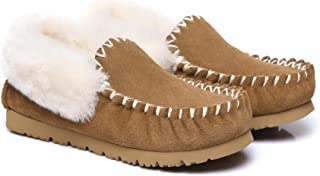 UGG Slippers,Australia Premium Sheepskin,Unisex Popo Moccasins for Women Men