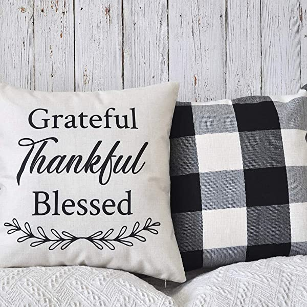 PANDICORN Set Of 2 Fall Farmhouse Thanksgiving Decorative Throw Pillows Covers Case For Couch Sofa Bed Grateful Thankful Blessed Black And Cream Buffalo Check 18x18 Inch