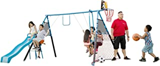FITNESS REALITY KIDS 8452 Fitness Realtiy Kids 7 Station Sports Series Metal Swing Set with Basketball & Soccer, One Size, One Color