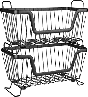 LOTTS Stackable Metal Storage Organizer Bin Basket with Handles, Open Front for Kitchen Cabinets, Pantry, Closets, Bedrooms, Bathrooms - 2 Pack