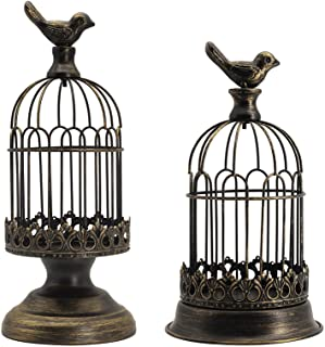 Decorative Bird Cage Candle Holder Black Vintage Candle Lanterns Set of 2 for Wedding Candle Centerpieces Reception Home F...