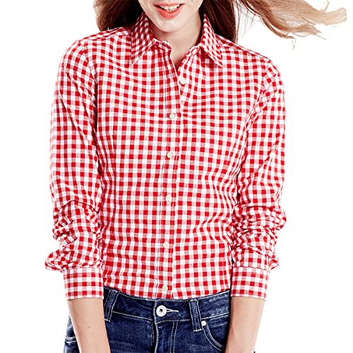 803486b0 Cekaso Women's Gingham Shirt Cotton Slim Fit Long Sleeve Button Up Plaid  Shirt