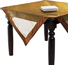 SARO LIFESTYLE 1639 Velveteen Tablecloths, 80-Inch, Square, Gold