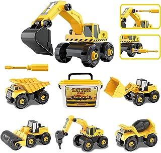 ADULi 子供の初めてのカーラボ DIY組み立て車おもちゃ 104pcs 建設車両6只 工事現場シリーズ