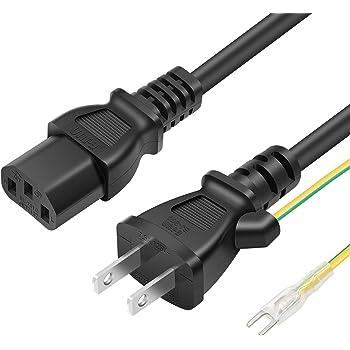 POWSEED AC電源ケーブル ACコンセント コネクター パワーコード 電源変換ケーブル・アダプタ 3ピンソケット(メス)⇔2ピンプラグ(オス) アース線付き トラッキング対策 ストレートタイプ 定格7.5A-125V 2m
