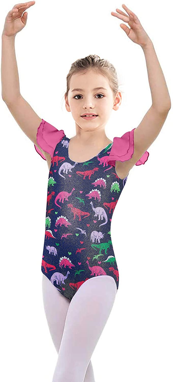 Kids4ever Girls Gymnastics Leotards Ruffle Sleeve Sparkly Dancewear Ballet Unitard Outfits 4-9 Years
