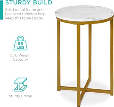 Best Choice Products 16in Side Table, Faux Marble Round End Table, Modern Small Accent Home Decor for Living Room, Dining Roo