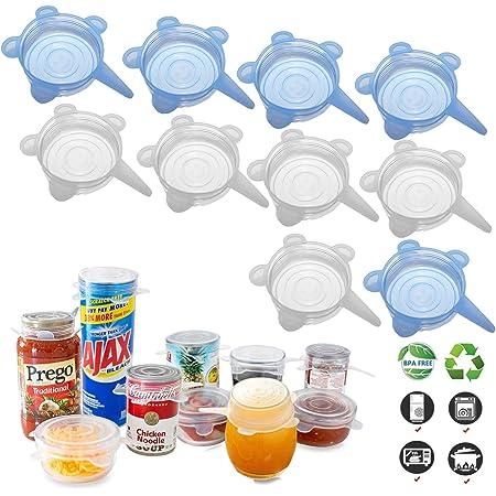 Tapas elásticas de silicona (10 unidades, todos 2.6 pulgadas), cubiertas de latas de sellado sin BPA, tapas de silicona reutilizables para tarros Mason regulares, tazas, soda, comida enlatada para mascotas, apto para 2.6 a 3.2 pulgadas
