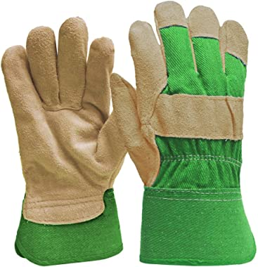 DIGZ 77235-26 Suede Leather Palm Garden Gloves with Safety Cuff, Small