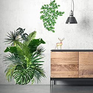 Green Plants Wall Sticker, TANOKY Removable Waterproof Tropical Wall Decor for Bedroom Sofa Background PVC Decorations - Safe on Walls & Easy Peel (Green)