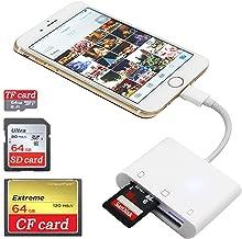 SD CF Card Reader for iPhone iPad iPad pro Camera SD Reader Adapter Memory Card Reader Adapter Digital Camera Reader for iPhone Xs Max/Xs/X/8 Plus/8/7 Plus/7/iPad Mini/Air No App Require