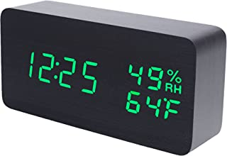 Raercodia Wooden Alarm Clock Modern Wood Clock Digital Electronic Desk Clock LED Display Time Date Temperature Humidity Voice Control 3 Alarms 3 Brightness for Home Office Kids (Black,Green)
