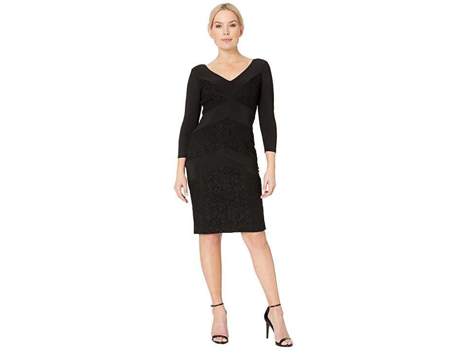 LAUREN Ralph Lauren 1T Matte Jersey Namaka 3/4 Sleeve Day Dress (Black) Women