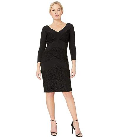 LAUREN Ralph Lauren 1T Matte Jersey Namaka 3/4 Sleeve Day Dress (Black) Women