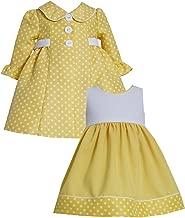 Bonnie Jean Girls Polka Dot Jacquard Coat & Dress Set, Yellow, 2T-4T