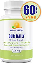 Our Daily Vites L-Methylfolate 2.5 mg + B Complex Cofactors & Essential Amino Acids - Active Folate, Methylated B12 methyl...