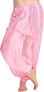 MUNAFIE Belly Dance Harem Pants Arabic Halloween Lantern Shiny Pants Fancy Pants US0-14