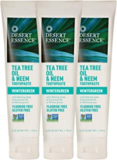 Desert Essence Tea Tree Oil & Neem Toothpaste - 6.25 Oz - Pack of 3 - Refreshing Rich Taste - Baking Soda & Essential Oil of Wintergreen - Antiseptic - Natural Ingredients - Fluoride & Gluten Free