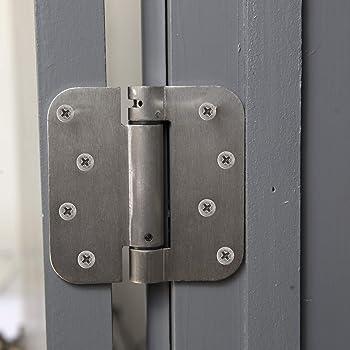"Houseables Self Closing Door Hinges, Mortise Spring Hinge, 5/8"" Radius Corner, Satin Nickel Finish, 4"" x 4"", 2 Pack, ..."