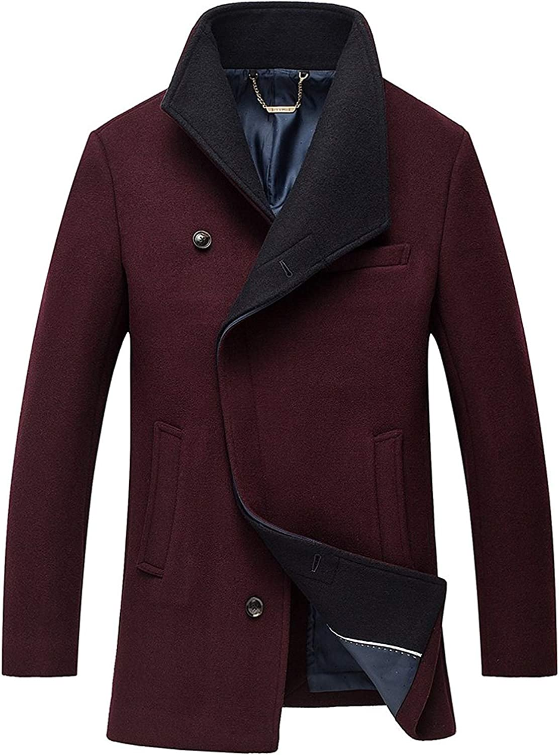 Xiami Leyuan Men's Perfect Shape Winter Jacket Coat with Australian Merino Wool Blend Single Breasted Trench