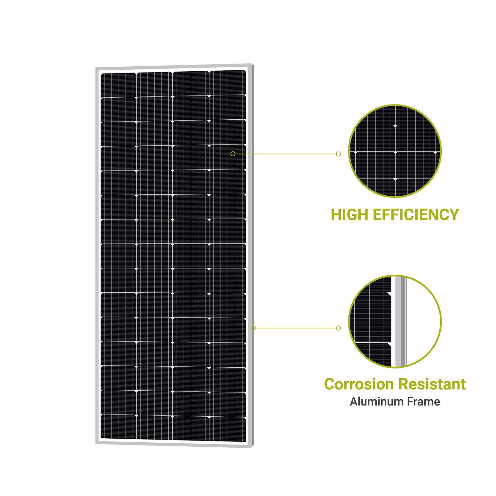 Newpowa 200W Monocrystalline 200 Watt 12V Solar Panel High Efficiency Mono PV Module Power for RV Marine Boat Cabin or Other Off Grid System