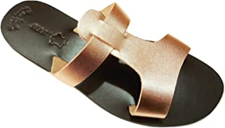 Ancient Greek Style Genuine Leather Slip-on Sandals Roman Handmade Womens Slide Shoes Gladiator Spartan Isidora Summer Flat Heel Bronze Colour Fashion Girls Greece
