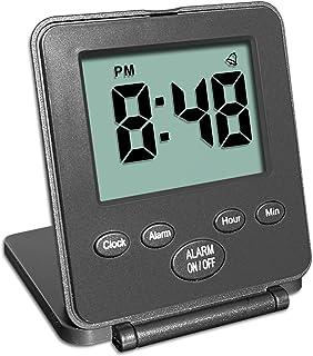 Mini reveil digital pour voyages – sans cloche ou sifflet horloge compacte simple à utiliser alarme répétition bouton on/o...