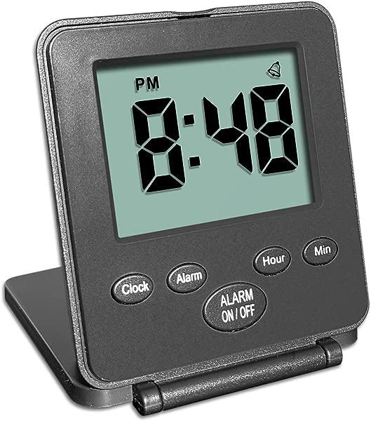 数字旅行闹钟没有铃铛没有口哨简单的基本操作大声闹钟小睡小灯开关 2 AAA 电池供电黑色