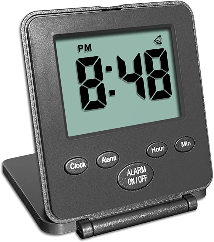 Digital Travel Alarm Clock No Bells No Whistles Simple Basic Operation Loud Alarm Snooze Small And Light ON Off Switch 2 AAA Battery Powered Black