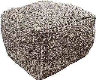 Jewderm Unstuffed Pouf Cover, Soft Woven Cotton Linen Footrest, Pouf Ottoman Foot Rest, Cotton Woven Square Poufs Without Filler for Living Room, Bedroom, Kids Room (Brown)