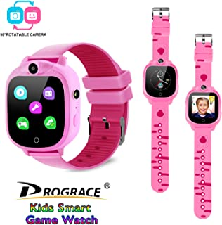 PROGRACE Kids Smart Watch with 90°Rotatable Camera Smartwatch Touch Screen Kids Watch Music Pedometer Flashlight FM Radio Games Digital Wrist Watch for Girls Electronic Learning Toys