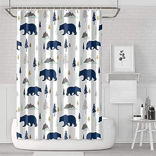 Kenlpous Polar Bear Mountains Forest Shower Curtain Bath Curtain Liners Polyester Cloth Best Pattern Soft Decorative Space Bathroom Curtain 70.9 X 70.9 Inch