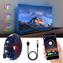 Excellux LED Strip Lights TV LED Backlight, RGB LED Strip, Bias Lighting USB Powered for 40 Inch-60 Inch TV,Mirror,PC, APP Control Sync to Music, 6.56ft/2M 5050 RGB Waterproof IP65
