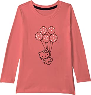 American-Elm Round Neck Multi-Coloured Full Sleeves Dolls and Ballons Printed T-Shirt for Girls | Kids All Age Printed T-S...