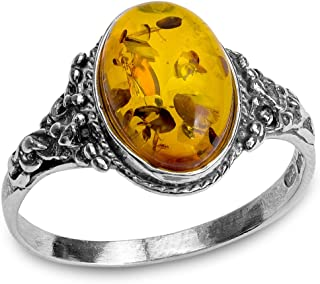 Amber and Sterling Silver Classic Oval Ring