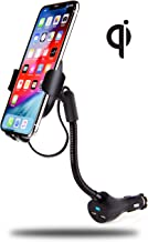 INFORMA Wireless Car Charger Mount, w/Built-in USB Cable, mounts in Power Outlet, Qi Car Wireless Charger Provides 7.5w for iPhone Xs/Xs Max/XR/X/8/8 Plus or 10w Samsung Galaxy S10/S10+/S9/S9+/S8/S8+