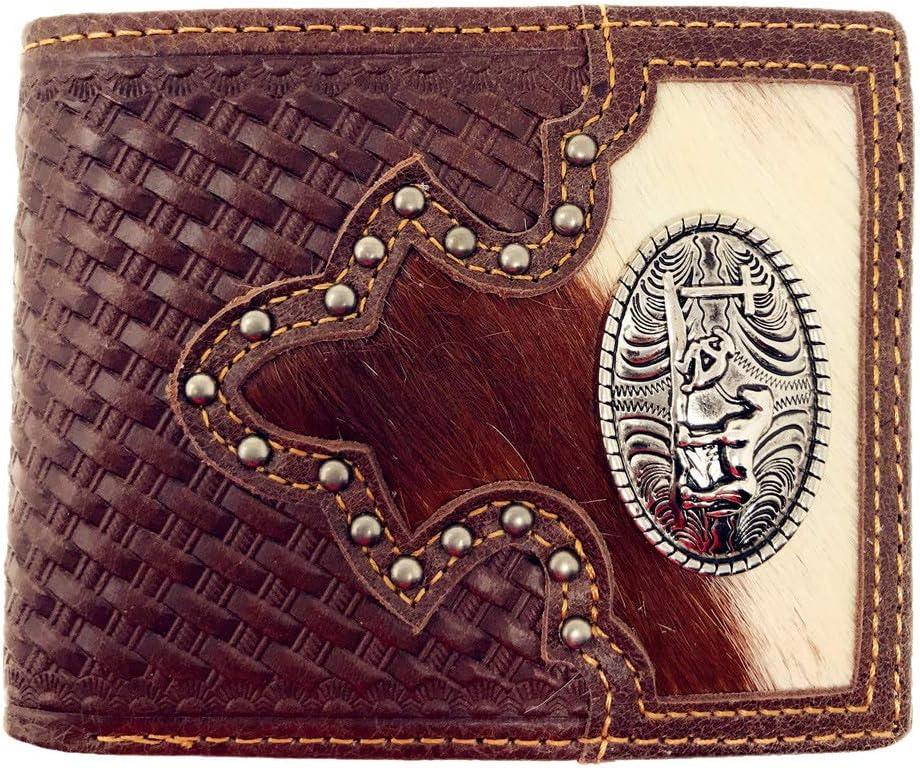 Western Genuine Woven Leather Cowhide Mens Bifold Short Wallet in Multi Emblem (Praying Cowboy)