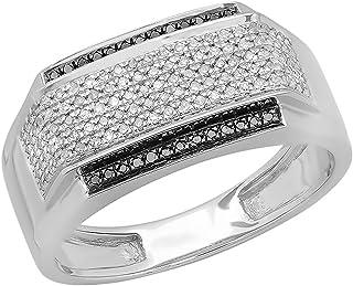 Dazzlingrock Collection Anillo para hombre de 0,45 quilates de plata de ley 925 con diamantes blancos y negros